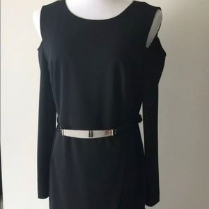 DKNY black cold shoulder dress